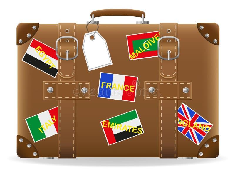 旅行和标签的老手提箱 库存例证