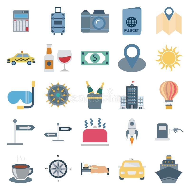 旅行和游览颜色传染媒介被隔绝的象包括与照相机,汽车,饮料,太阳,大厦,茶,出租汽车,船,气球,美元, 皇族释放例证
