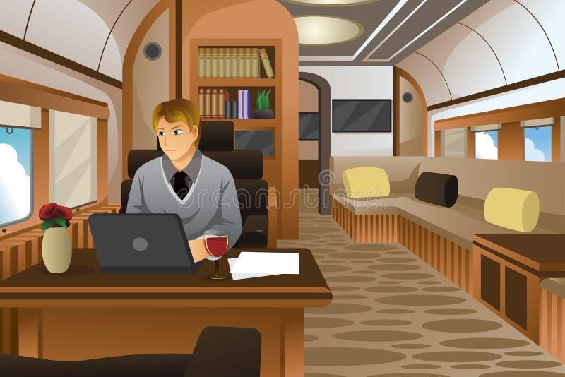 旅行在一个豪华私人喷气式飞机的商人 库存例证