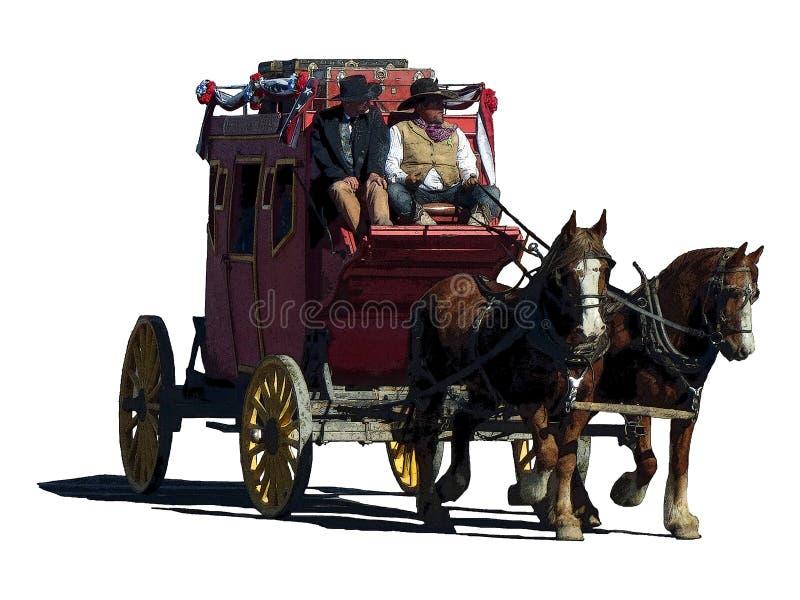 旅行在右边的驿马车的幻想例证 库存例证
