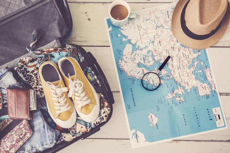 旅行在地图的计划概念 库存照片