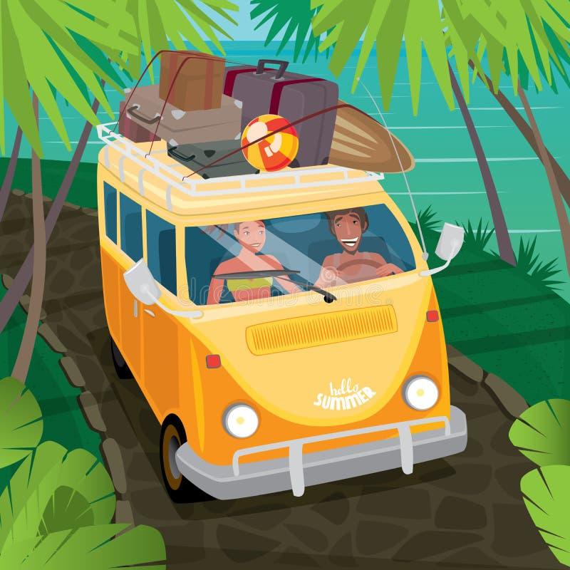 旅行在搬运车的嬉皮夫妇沿海 库存例证