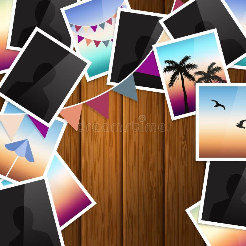 旅行在木背景的照片拼贴画 旗布旗子 向量 库存例证