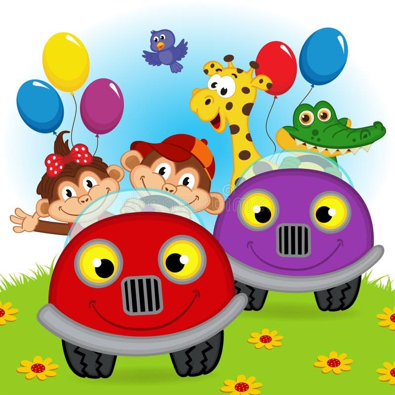 旅行在汽车的动物 皇族释放例证