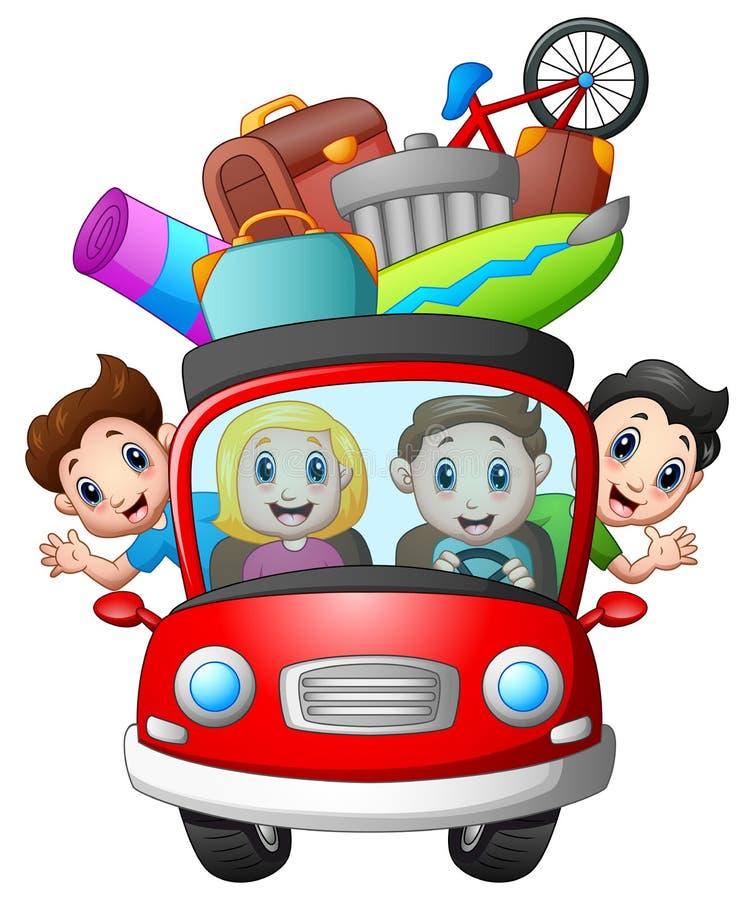 旅行在汽车的家庭 向量例证