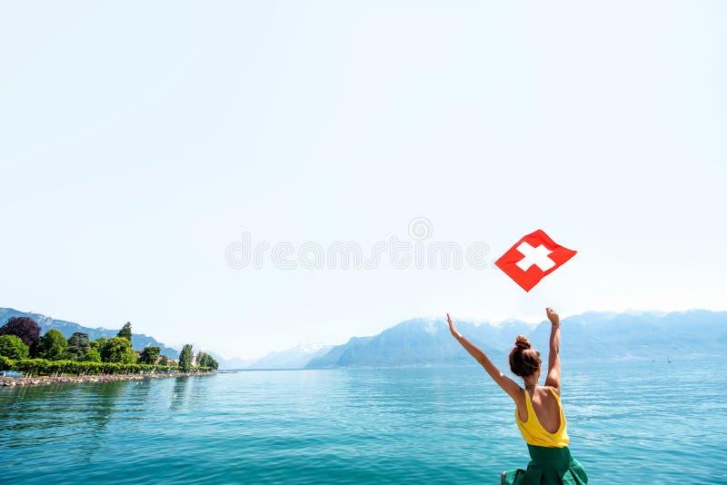 旅行在瑞士的妇女 库存照片