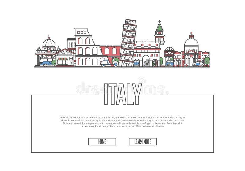 旅行在线性样式的意大利海报 库存例证