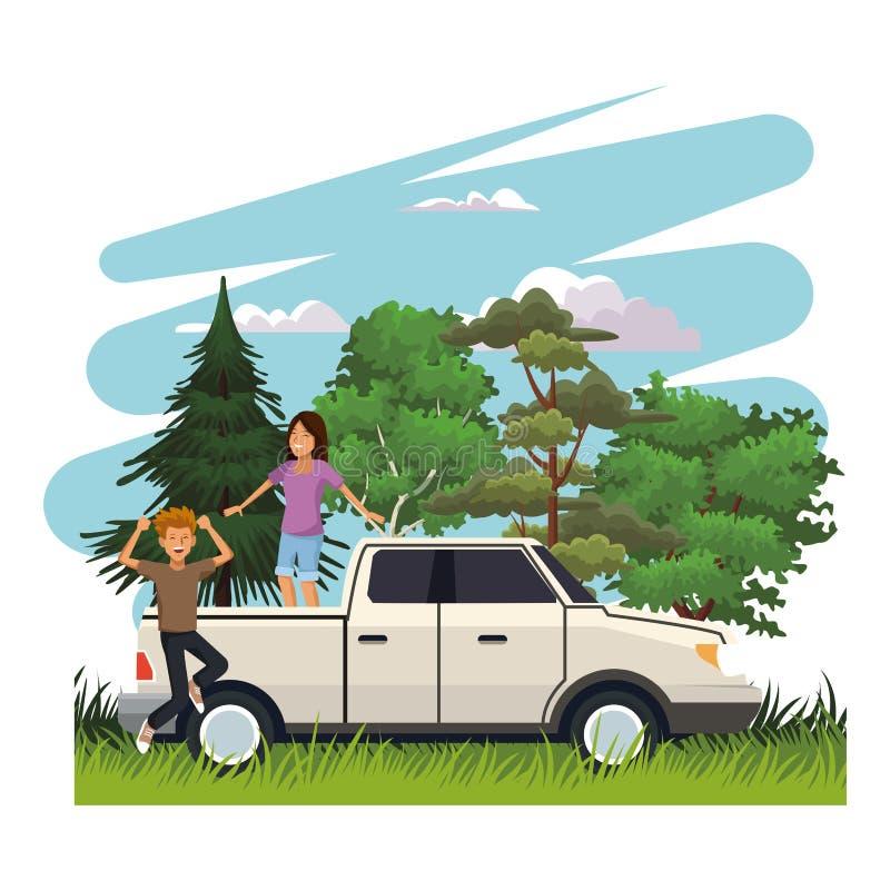 旅行在路的青年人 库存例证