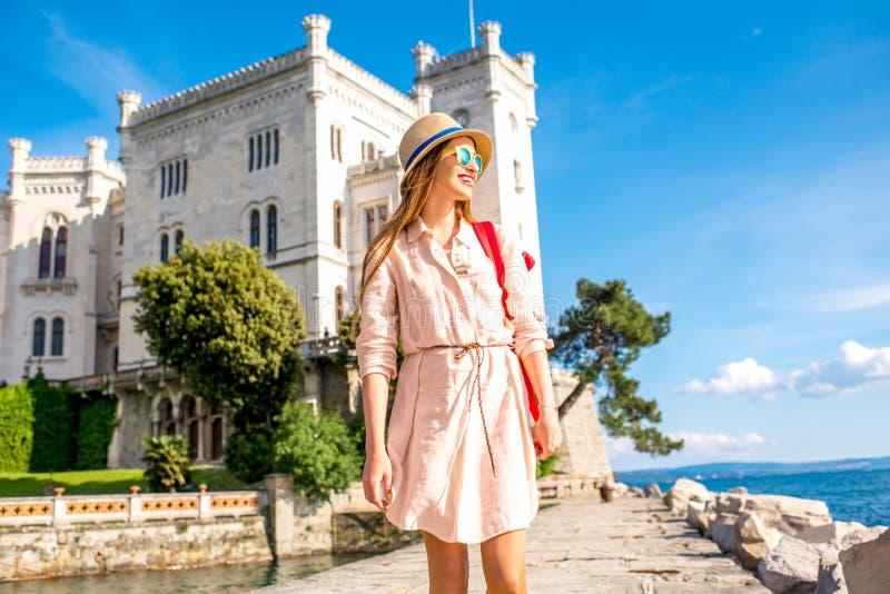 旅行在Miramare城堡附近在意大利 库存照片