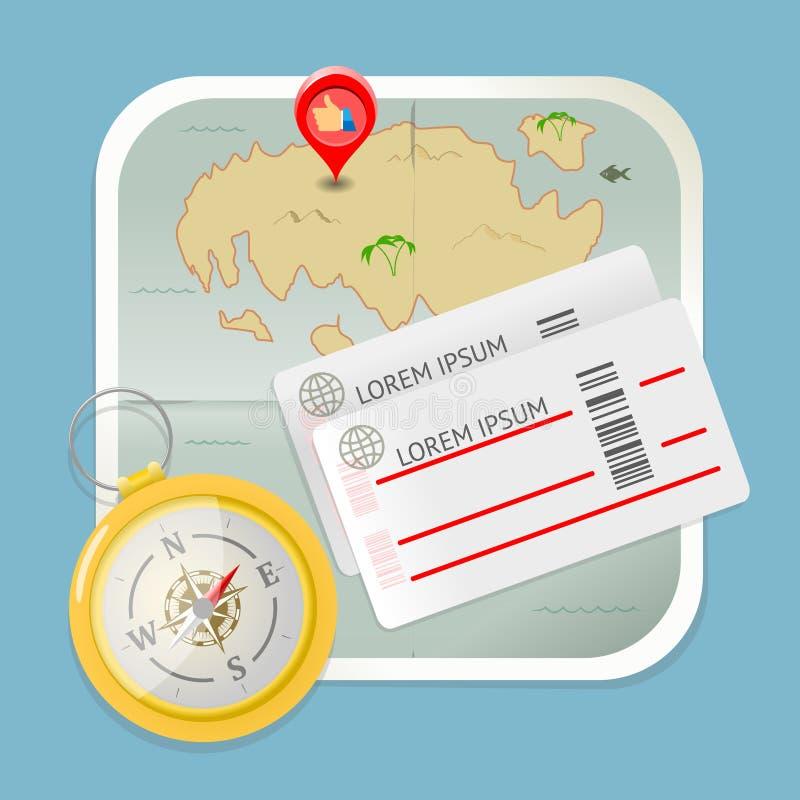 旅行地图卖票指南针象传染媒介 皇族释放例证