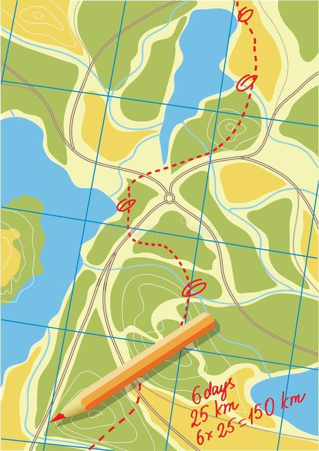 旅行地图在森林的。 库存例证