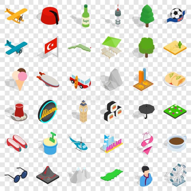 旅行地标象集合,等量样式 库存例证
