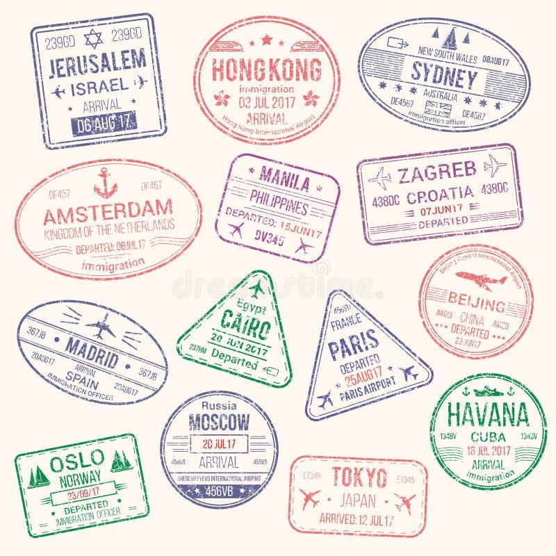 旅行城市护照邮票传染媒介象  库存例证