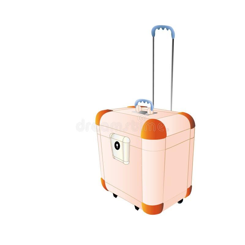 旅行塑料手提箱桃子颜色,大与轮子 创造性的传染媒介例证隔绝在白色背景 抽象骗局 免版税图库摄影