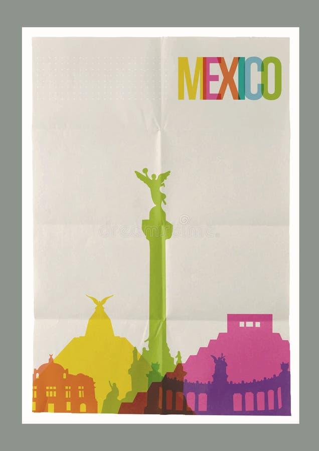旅行墨西哥地标地平线葡萄酒海报 向量例证