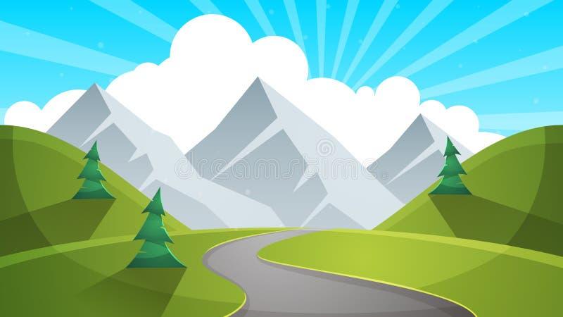 旅行天动画片landscapen 山,冷杉,路illustation 向量例证