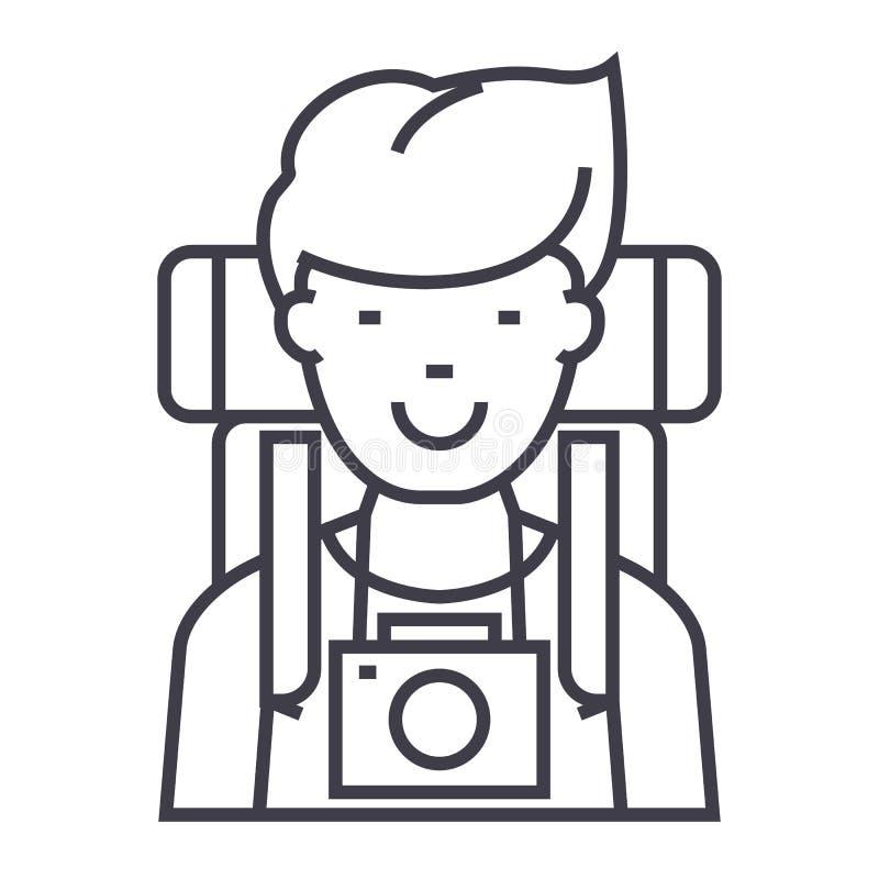 旅行家、活跃游人有照相机的和背包导航线象,标志,例证在背景,编辑可能的冲程 皇族释放例证