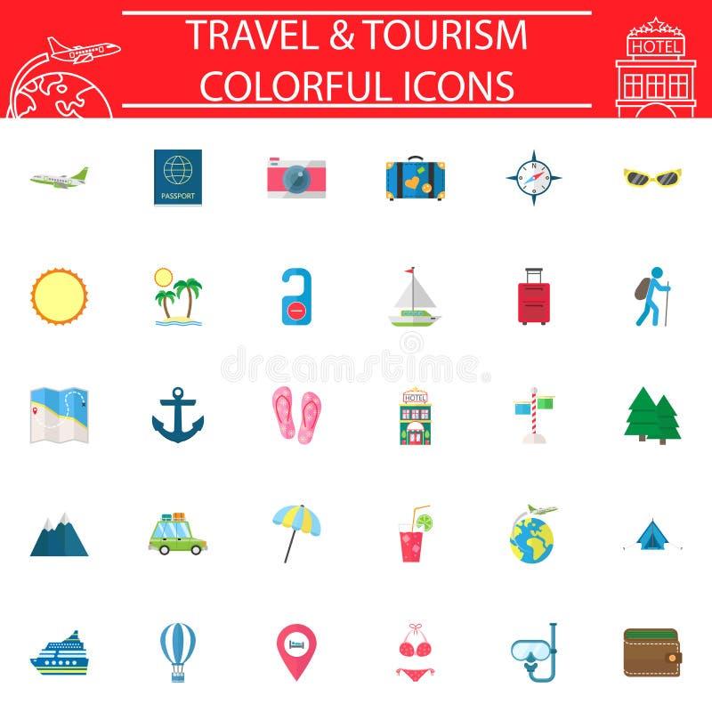 旅行平的象集合,旅行标志汇集,商标例证,运输在白色背景填装了 皇族释放例证