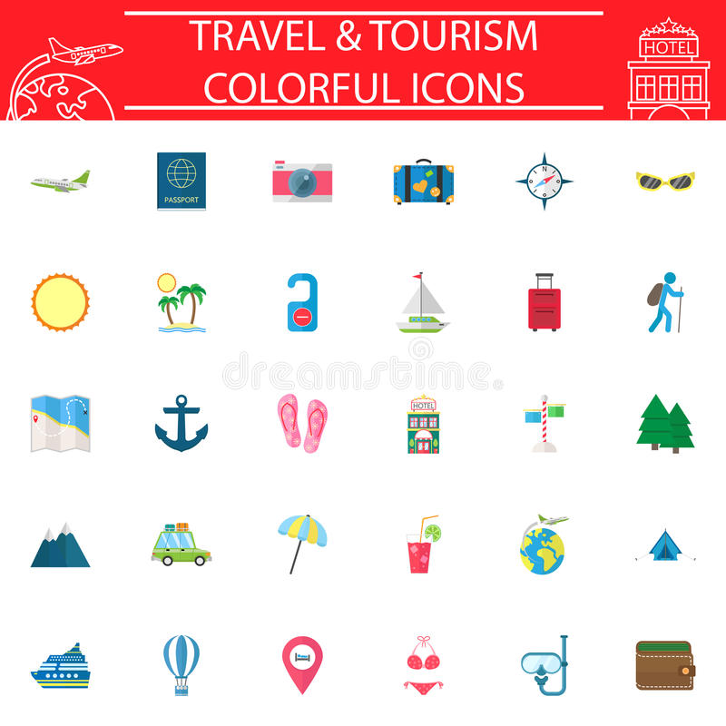 旅行平的象集合,旅行标志汇集 皇族释放例证