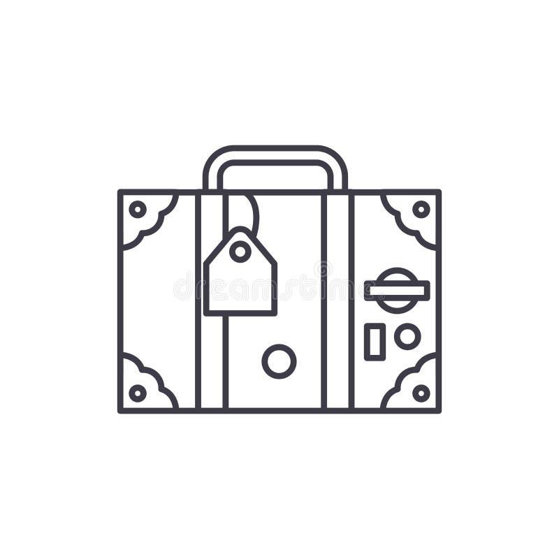 旅行手提箱线象概念 旅行手提箱传染媒介线性例证,标志,标志 向量例证