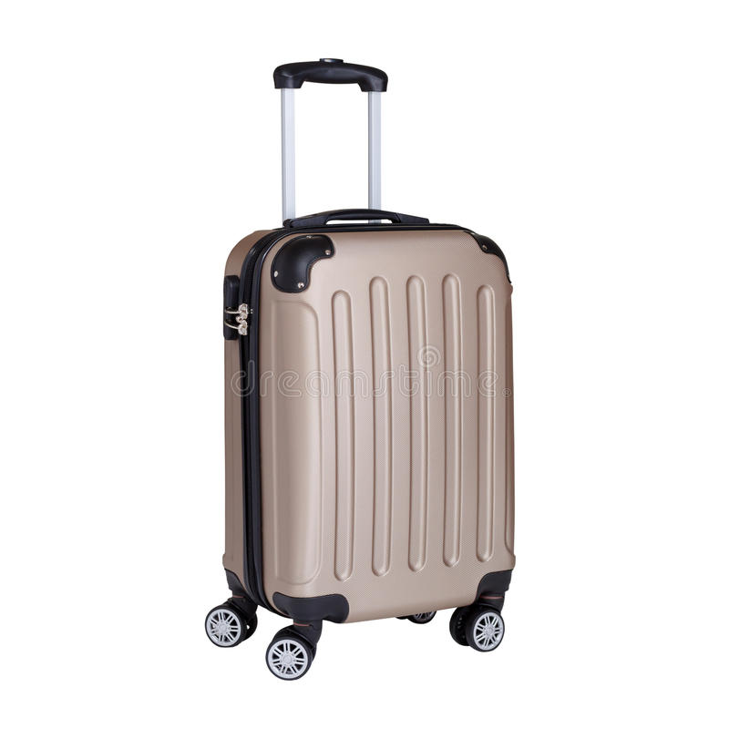 旅行手提箱,在白色隔绝的轮子的手提行李 免版税图库摄影