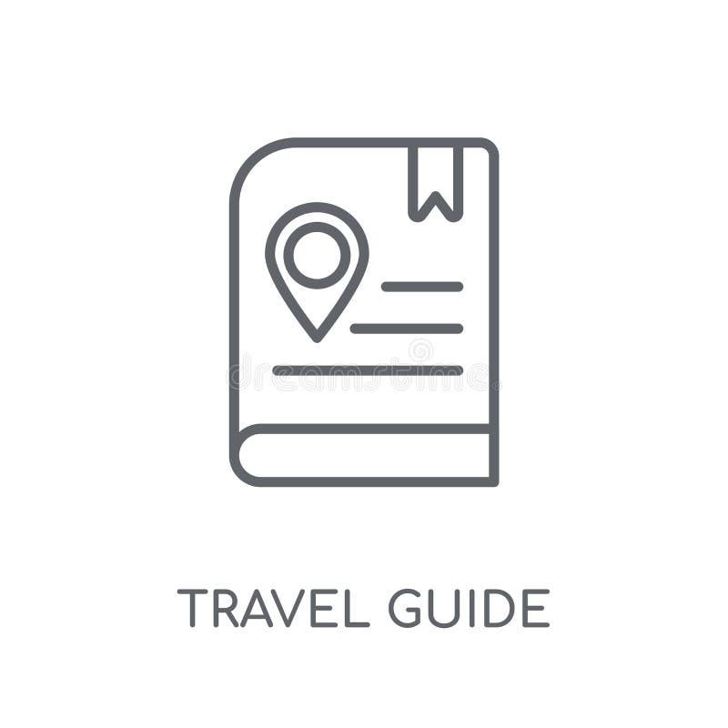 旅行指南线性象 现代概述旅行指南商标conce 皇族释放例证