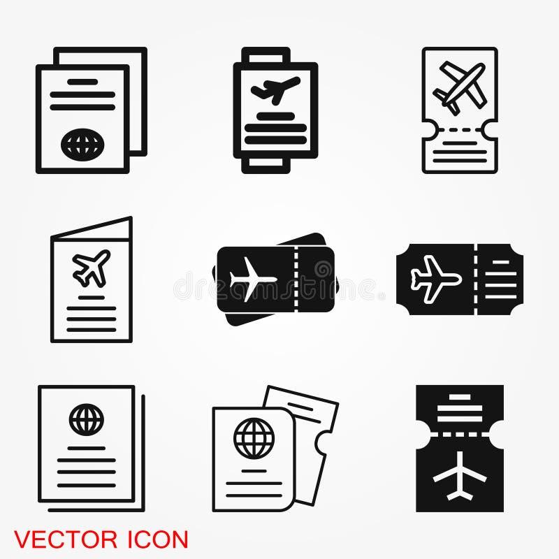 旅行文件象,与被隔绝的平展票象的护照 概念旅行和旅游业 库存例证