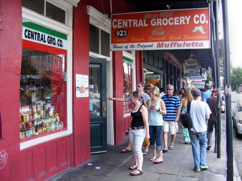 旅行新奥尔良中央Grocery Company,法国街区 库存图片
