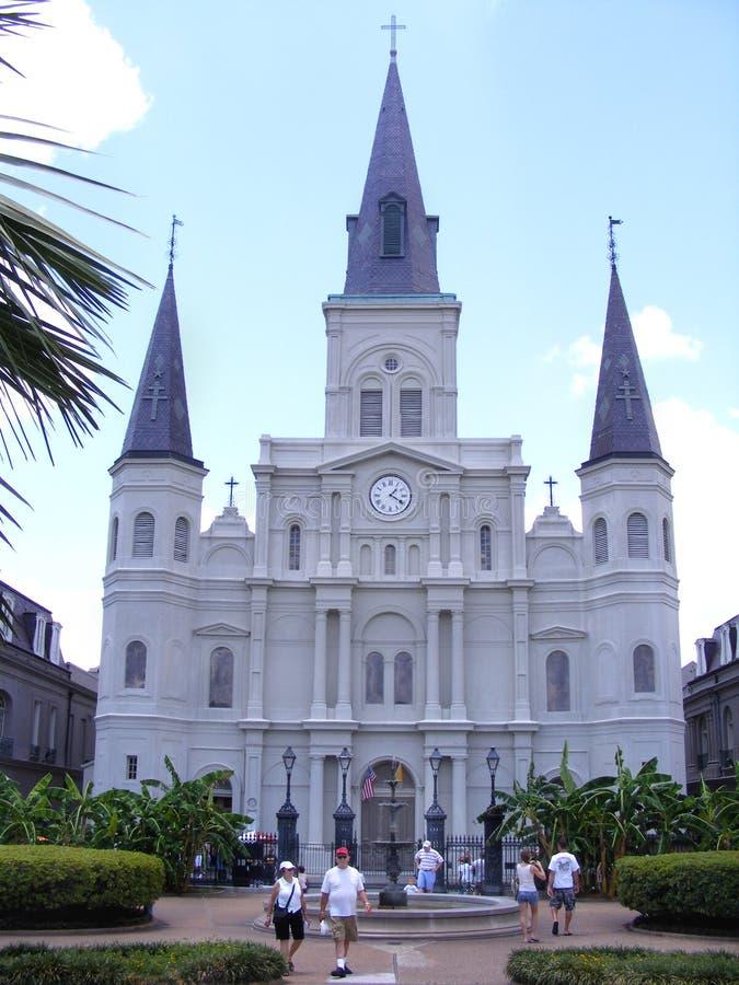 旅行新奥尔良圣路易斯大教堂,杰克逊广场,游人 免版税库存图片
