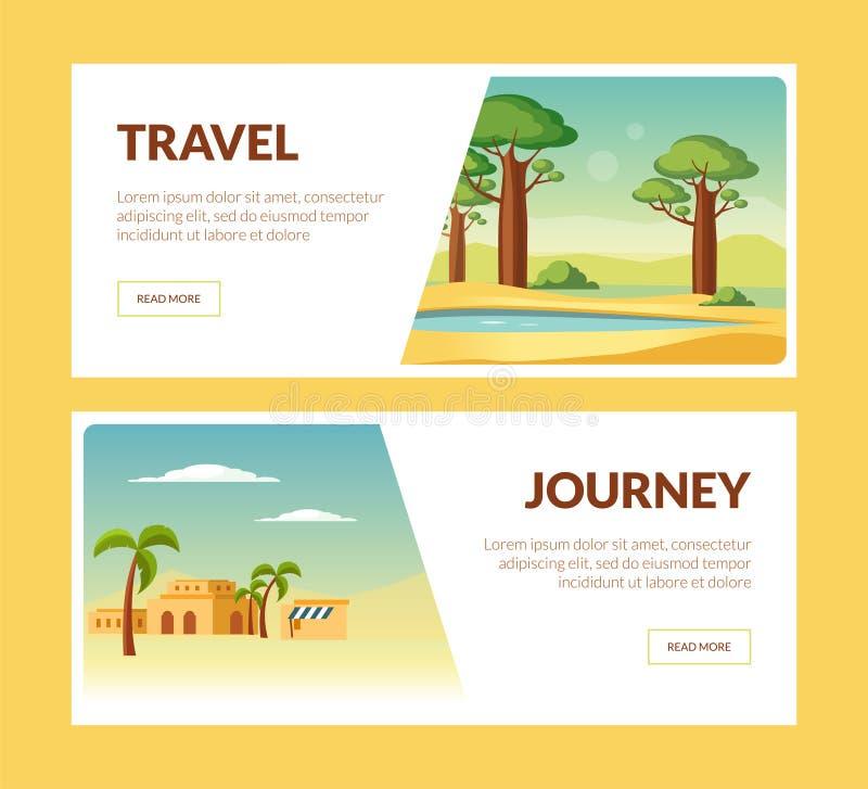 旅行旅途水平的横幅集合,夏天休假冒险传染媒介例证 皇族释放例证