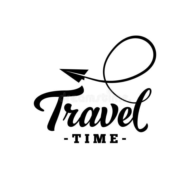 旅行时间 手拉的字法 传染媒介和例证 库存例证