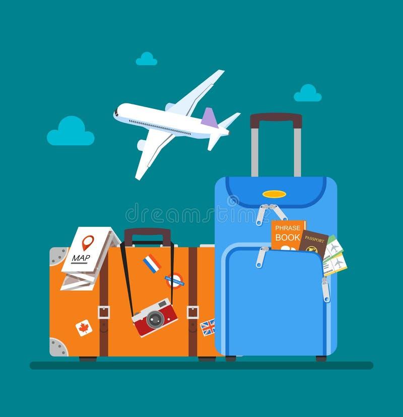 旅行概念在平的样式设计的传染媒介例证 在游人行李上的飞机飞行 背景海滩蓝色五颜六色的天空伞假期 库存例证