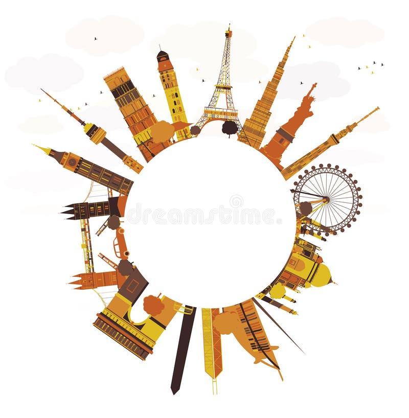 旅行概念环球 著名国际地标 库存例证