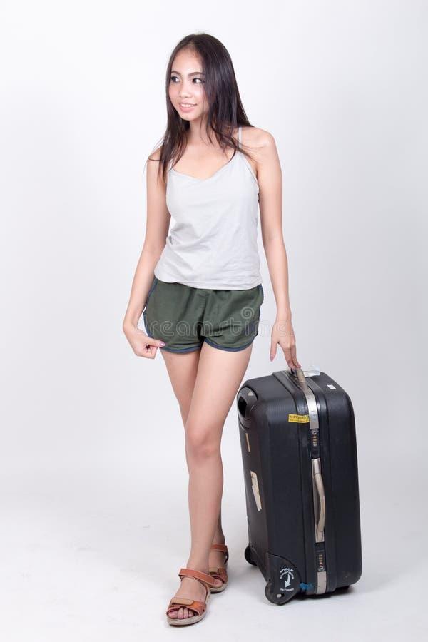 旅行概念的亚裔女孩 免版税图库摄影