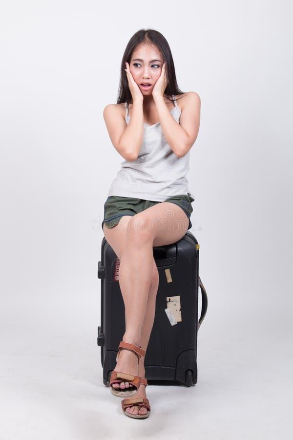 旅行概念的亚裔女孩 库存照片