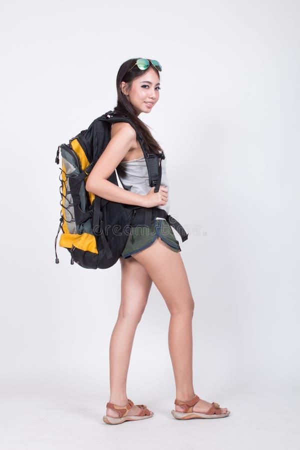 旅行概念的亚裔女孩 免版税库存照片