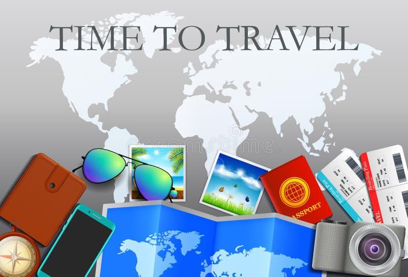 旅行概念,在夏天准备 旅行和旅游业背景 顶视图 概念网站模板 皇族释放例证