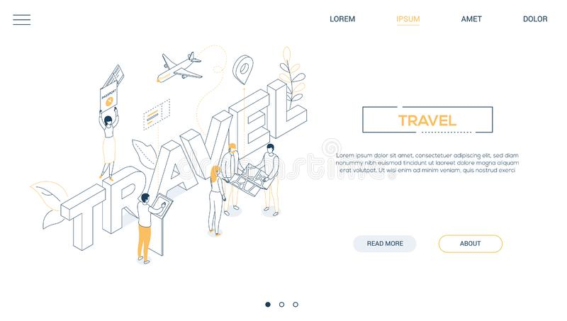 旅行概念-线设计样式等量网横幅 向量例证