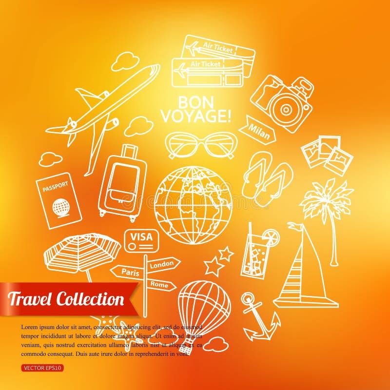 旅行概述象被设置在被弄脏的发光 库存例证