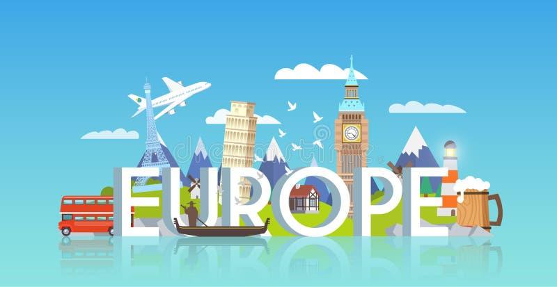 旅行横幅 行程的欧洲 库存例证