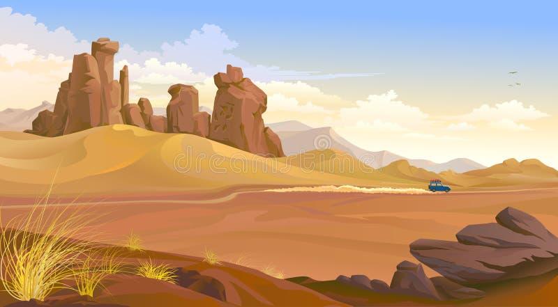 旅行横跨沙漠的吉普 向量例证