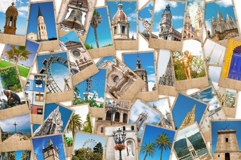 旅行照片拼贴画从不同的城市的 免版税库存照片