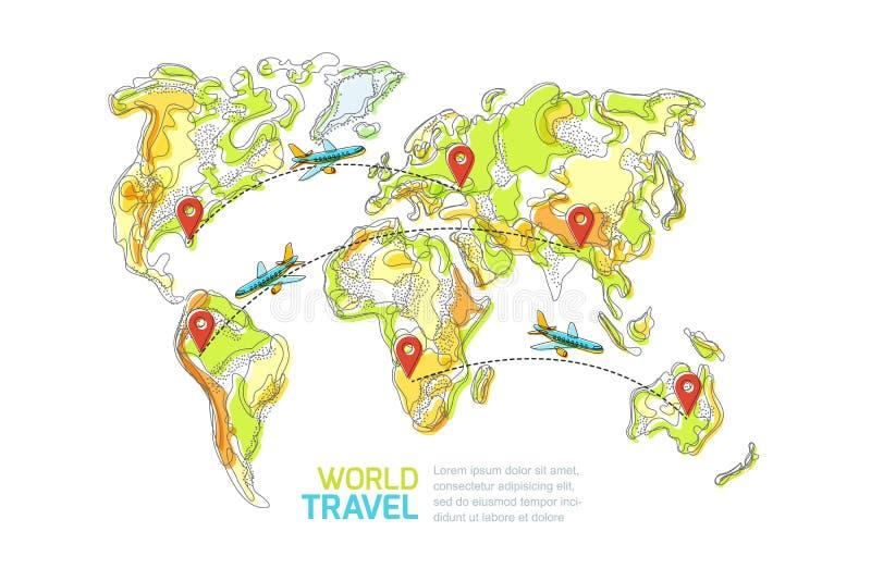 旅行环球和旅游业概念 传染媒介抽象世界地图和飞行飞机 库存例证