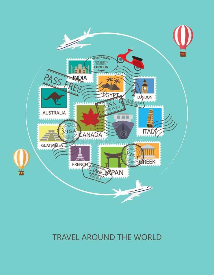 旅行环球背景, 库存例证