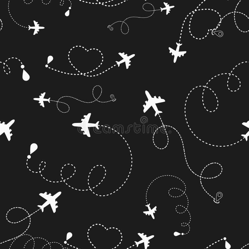 旅行环球飞机路线无缝的样式,背景,传染媒介,不尽的纹理可以为墙纸,样式使用 库存例证