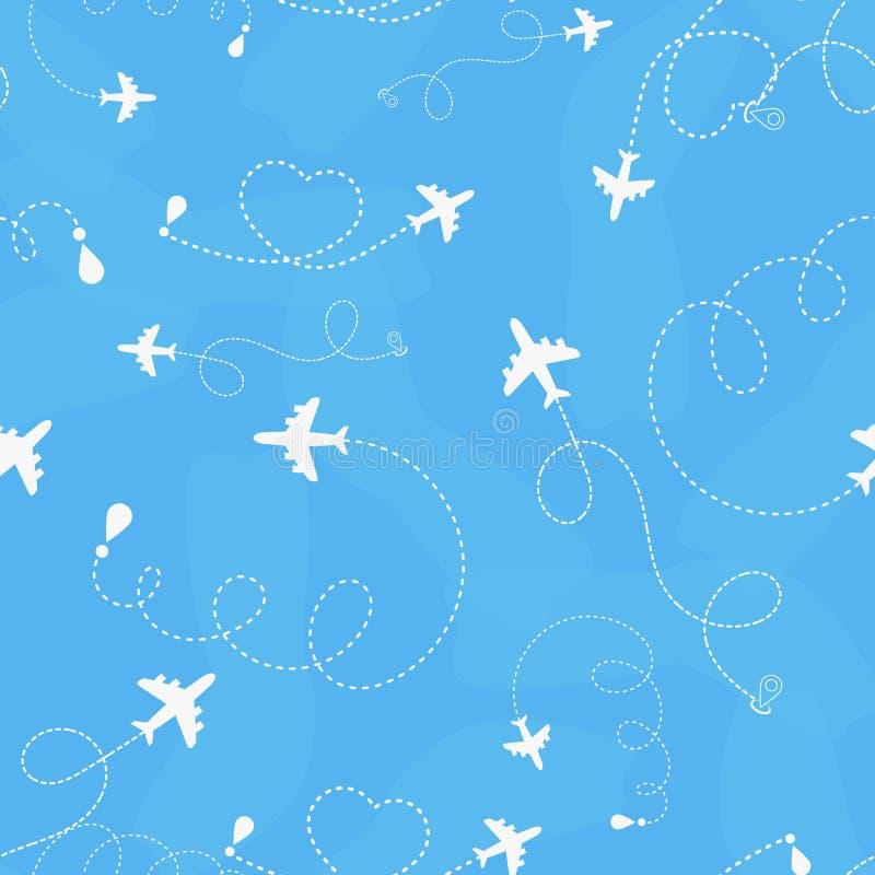 旅行环球飞机路线无缝的样式,背景,传染媒介,不尽的纹理可以为墙纸,样式使用 向量例证