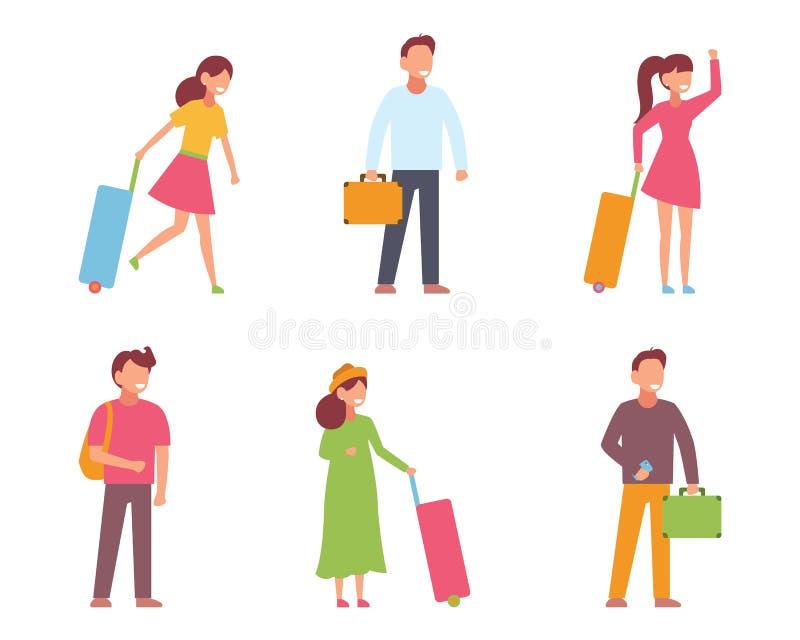 旅行的人、等量象与人和妇女用不同的姿势和行李,被隔绝的传染媒介例证 皇族释放例证