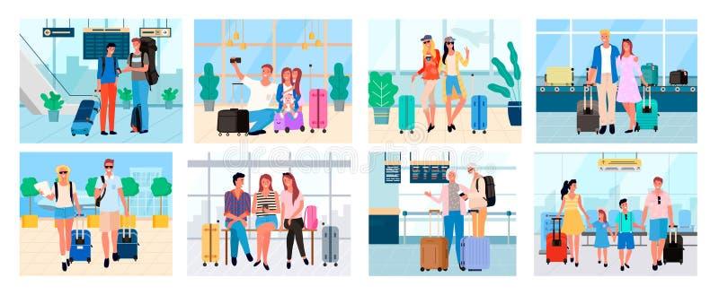 旅行的人们一起,夫妇和家庭 库存例证