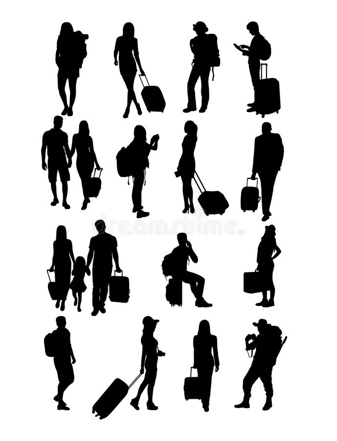 旅行的人剪影 向量例证