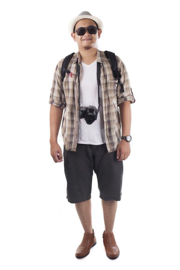 旅行的人民在白色隔绝了 男性背包徒步旅行者游人,Smi 库存图片